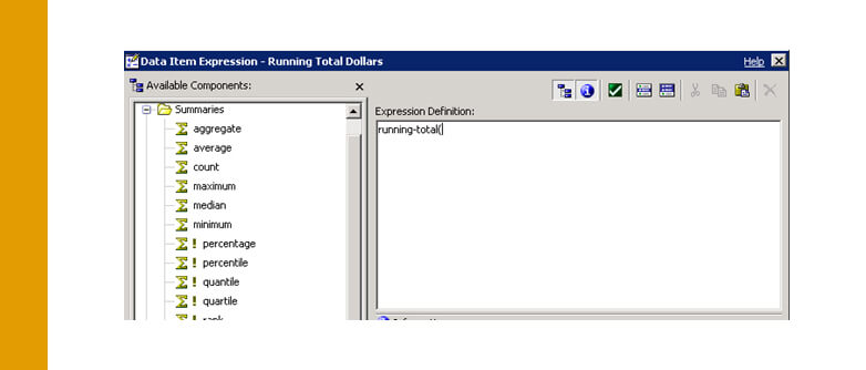 Cognos: Running Totals on multi-dimensional data sources