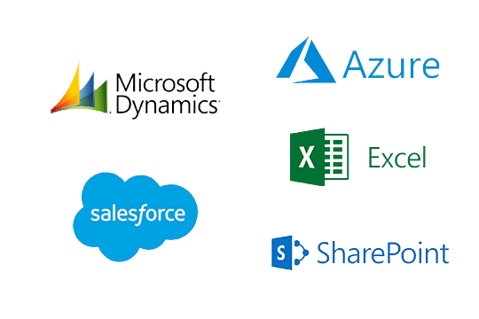 Connecting data from multiple platforms like salesforce, Microsoft Dynamics, Excel, Share Point and Azure