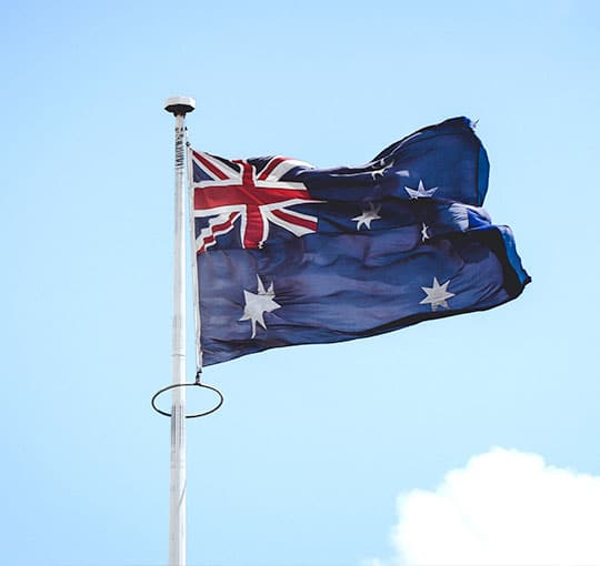Australian flag waving in the sky