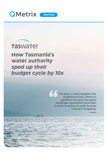 TasWater case study cover with a sky and ocean view