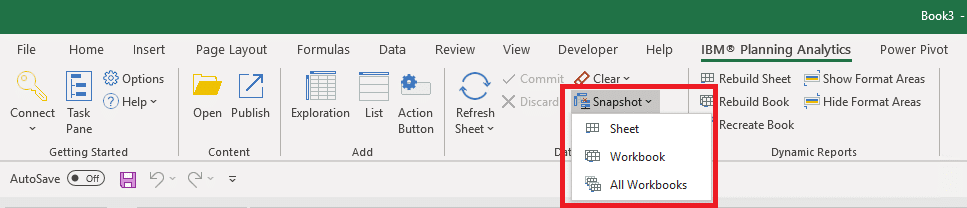 Example of the Planning Analytics for Excel (PAX) snapshot function