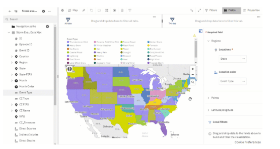 Example of map visualisation in Cognos