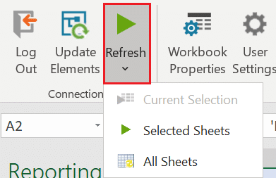 Refresh one, selected or all worksheets in OfficeConnect Adaptive Insights