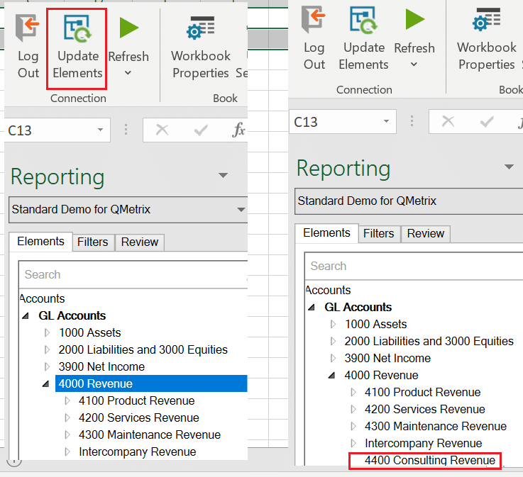 Update elements in OfficeConnect