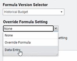 Formula settings in Adaptive Planning